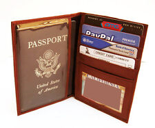 Red Patent Leather Passport Cover ID Card Holder Travel Wallet New