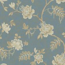 Wallpaper Designer Cream Beige Tan Jacobean Floral Vine on Blue Gold Faux