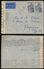 FRENCH GUINEA 1941 WW2 MILITARY CENSOR PC240 to PERPIGNAN + N + MARSEILLE GARE