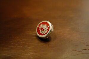 MUFLON /  Sterling Silver RED DRAGON  Soft Release Button