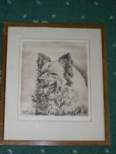 More details for rare antique keeshond dog signed ltd ed drypoint etching 1938 by r.j. harris