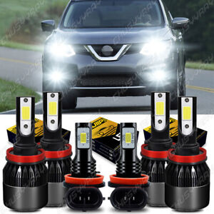 For Nissan Rogue 2014- 2017 2018 LED Headlight High/Low Beam+Fog Light Bulbs Kit