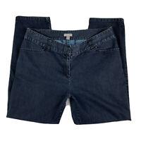 J Jill Women 10 Straight Leg Dark Wash Mid Rise Denim Jeans Pants Pockets Blue