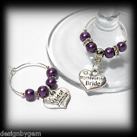 Beautiful Lilac Purple wedding wine glass charms for top table or favours decor