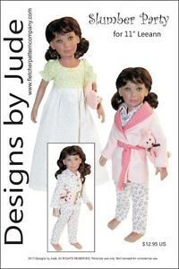 """Slumber Party Doll Clothes Sewing Pattern 11"""" Leeann Dolls"""