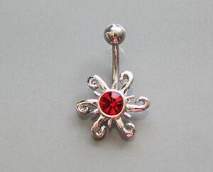 1 x RED SUNBURST DESIGN JEWELLED  NAVEL BELLY BAR, SURGICAL STEEL BODY JEWELLERY