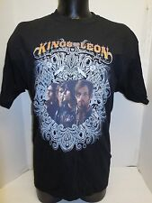 NEW MEN'S SLIM FIT SMALL BAND KINGS OF LEON TOUR GRAPHIC BLACK TSHIRT