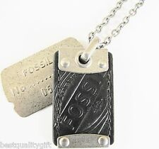 FOSSIL VINTAGE SILVER+BLACK LEATHER DOG TAG PENDANT CHAIN NECKLACE JF00508797