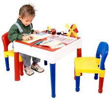 Kids Children 5 in 1 Activity Table Chairs Writing Top Lego Sand Water Storage