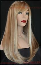 Long Wig STRAIGHT WITH SWOOPING BANGS SEXY COLOR F27.613 Blonde Highlight 1373
