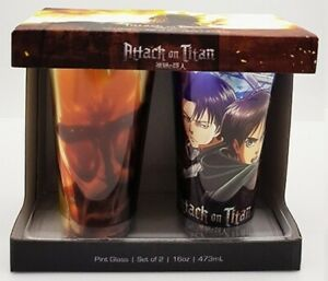 New Attack on Titan Pint Glass Set of 2