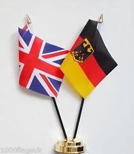 United Kingdom & Germany State Eagle Double Friendship Table Flag Set