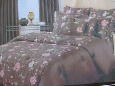 RODEO HOME BROWN  FLORAL EMBROIDERED KING COMFORTER SET - NEW