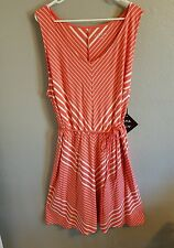 NEW Women's Plus Size Ava & Viv Coral Stripe Sleeveless Dress Size 3X (24W/26W)