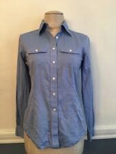 2 Brooks Brothers 346 Women's Blue Button Up Dress Shirt 100% Cotton Fitted