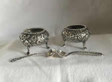 Vintage Pair Vintage Sterling Silver Kirk & Son Repousse Footed Salts /Spoons