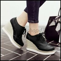 Womens Wedge High Heels Platform Shoes Lace Up College Brogue Creepers Leisure