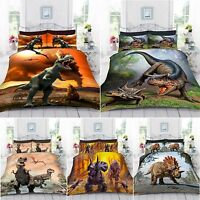 UK Made 3D Digital Photo Print Dinosaur World Duvet Quilt Cover With Pillowcase