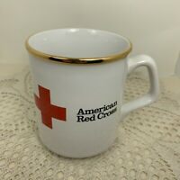 Vintage Red Cross Coffee Mug w/ Gold Rim