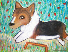Pembroke Welsh Corgi doing Agility Art Print 8x10 Dog Collectible Vintage Style