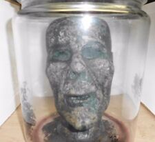 Halloween Decomposed Zombie Head in Glass Jar with Removable Lid Prop EUC