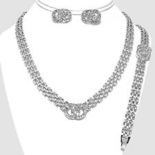 Necklace Earrings Bracelet Silver Crystal Womens Jewelry Set
