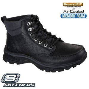 MENS SKECHERS Ralcon BLACK LEATHER RELAXED FIT MEMORY FOAM WARM CASUAL BOOTS SZ