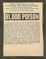 VINTAGE AD FOR COOK BLOOD POISON CURE & HENRY LINDENMEYR & SONS PAPER WAREHOUSE