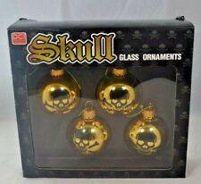 Decor Craft Inc. - Skull & Crossbones Glass Christmas Ornaments (4 pack)