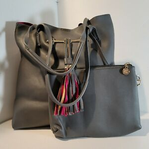 Large Carry All Tote Bag Grey Faux Leather Matching Case Tassel Purse