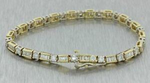 "4Ct Baguette Sim Diamond Men's Tennis Bracelet 14K Yellow Gold Over Free Stud 8"""