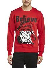 Run & Fly Mens Santa 'Believe' Crew Neck Novelty Xmas Jumper Size Small
