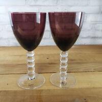 SET of 2 Artland Hand Blown Purple Glasses Water or Wine Goblets 10oz
