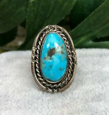 Silver Turquoise Statement Ring,Estate Jewelry,Handmade Sterling Silver Ring SS