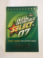 2007 NRL Invincible Select Rugby Card Checklist #1