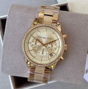 Michael Kors Women's Ritz Chronograph Gold-Tone Stainless Steel Watch MK6597