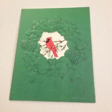 Vintage Greeting Card Christmas Red cardinal Bird green