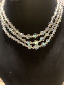"Beautiful 16 1/2"" 3 Strand AB Crystal Glass Bead Necklace With White RS"
