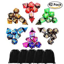 Lot of 42 DnD Dungeons And Dragons Polished Game Dice Double Colors Families