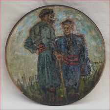 Antique Meet Between Cretan Farmers Greece Hand Enameled Plate 1900