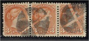 (8777) CANADA 1870-89 3c ORG STRIP OF 3 W/ FANCY CANCEL