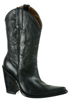 Jon Boots Womens Stacked High Heel Western Cowboy Boots Size 6.5M Black Leather