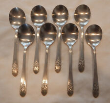 WM ROGERS SILVER MIST MARIGOLD 1935 SILVERPLATE FLATWARE 8 ROUND SOUP SPOONS