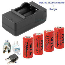 4x16340 2300mAh CR123A Rechargeable Battery For Flashlight Laser Pointer+Charger