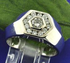 0.62 ct 18k Solid White Gold Mens Men's Natural Diamond Ring Hexagon channel set