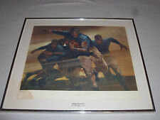 FRAMED SIGNED BOB PEAK RED GRANGE GALLOPING GHOST PRINT NUMBERED 1976 436/1000 >