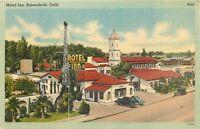 LINEN Postcard CA D414 Motel Inn Bakersfield Calif Street View Mission Style