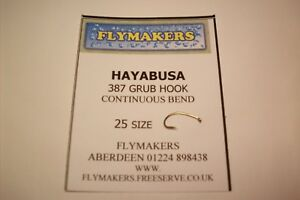 25 HAYABUSA SUPER GRUB CONTINUOUS BEND TROUT FLY HOOKS CODE FLY 387  FLYMAKERS