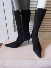 WOMENS DIBRERA BLACK SUEDE SIDE ZIP-UP MID-CALF BOOTS SIZE 38