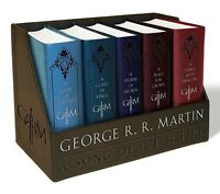 A Game of Thrones (Song of Ice and Fire Series) 1 - 5 Book Set LEATHER BOUND ...